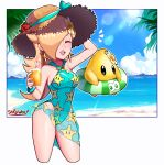 1girl 1other absurdres blonde_hair breasts casual_one-piece_swimsuit closed_eyes covered_navel cup earrings green_swimsuit hair_over_one_eye hat highres holding holding_cup jewelry long_hair luma_(mario) super_mario_bros. medium_breasts one-piece_swimsuit print_sarong print_swimsuit rosalina sarong sarukaiwolf star_(symbol) star_earrings star_print straw_hat sun_hat super_mario_galaxy swimsuit