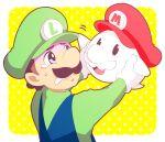 boo_(mario) brown_hair ghost gloves green_hat luigi mario_(series) mario_bros. mustache nintendo overalls red_hat scared white_mustache