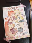 2girls :3 animal_ear_fluff animal_ears artist_name bandaged_arm bandages bandana bangs bare_shoulders belt black_footwear black_gloves black_legwear black_ribbon black_shirt black_shorts blonde_hair blue_eyes blunt_bangs boots cat cat_ear_headphones cat_ears cat_girl chinese_commentary chinese_text closed_mouth collar commentary_request crop_top dog dog_tail english_commentary fake_animal_ears fingerless_gloves flat_chest flower gloves gradient_hair hair_ribbon hands_up happy headphones highres holding_hands interlocked_fingers kneehighs leaning_forward legs_together linmiu_(smilemiku) long_hair looking_at_viewer midriff mixed-language_commentary multicolored_hair multiple_girls navel off-shoulder_shirt off_shoulder one_eye_closed original paintbrush partial_commentary paw_boots paw_print petals photo_(medium) pink_eyes pink_flower pink_hair ponytail red_eyes redhead ribbon shiba_inu shiny shiny_hair shirt short_shorts short_sleeves shorts sidelocks signature simple_background sleeveless sleeveless_shirt smile stomach symmetry tail tape tied_hair traditional_media translation_request twitter_username watercolor_(medium) white_background