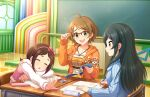 blush brown_hair dress green_eyes idolmaster_cinderella_girls_starlight_stage short_hair smile tsuchiya_ako