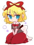 1girl blonde_hair blue_eyes bow bubble_skirt doll frilled_shirt frilled_shirt_collar frilled_sleeves frills highres kneeling medicine_melancholy op_na_yarou poison puffy_short_sleeves puffy_sleeves red_bow red_neckwear red_ribbon ribbon shirt short_hair short_sleeves skirt touhou wavy_hair youkai