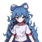 1girl absurdres blue_bow blue_eyes blue_hair blue_skirt blush bow grey_shirt hair_bow hh highres korean_text long_hair looking_at_viewer messy_hair ringed_eyes shirt short_sleeves simple_background skirt solo touhou upper_body white_background yorigami_shion