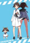 3girls absurdres animal_ears back-to-back black_legwear black_neckwear black_sailor_collar blue_background brown_eyes brown_hair chibi clipboard dog_ears dog_tail dress dual_persona highres labcoat looking_at_viewer miyafuji_yoshika multiple_girls neckerchief sailor_collar sailor_shirt school_swimsuit shirt short_hair strike_witches swimsuit swimsuit_under_clothes tail tricky_46 world_witches_series