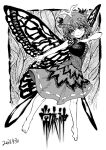 1girl antennae barefoot butterfly_wings dated dot_nose dress eternity_larva eyebrows_visible_through_hair greyscale hair_between_eyes heran_hei_mao hidden_star_in_four_seasons leaf monochrome outstretched_arm short_hair smile solo touhou translation_request wings