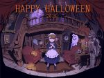 2018 2girls apron armor blue_dress blue_eyes braid brown_hair candelabra candle chair chandelier clock dress floating floating_object ghost ghost_costume grandfather_clock halloween happy_halloween indoors jack-o'-lantern ladle looking_at_another maid maid_apron maid_headdress multiple_girls original painting_(object) pumpkin scared shadow stairs table twin_braids ume_(illegal_bible) vase