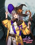 2019 cane coat elran full_moon grey_hair halloween happy_halloween hat heterochromia highres looking_at_viewer moon night original pointing pointing_up pumpkin shirt silk smile spider_web white_shirt witch_hat yellow_coat
