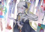 1girl bangs black_kimono blush breasts commentary dmith dragon_girl dragon_horns fate/grand_order fate_(series) horns japanese_clothes kimono kiyohime_(fate) long_hair long_sleeves medium_breasts multiple_horns obi ponytail red_eyes sash white_hair wide_sleeves wind_chime