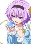 1girl arms_up blue_shirt blush commentary_request crossover dragon_quest eyebrows_visible_through_hair hair_between_eyes hair_ornament hairband heart heart_hair_ornament highres holding komeiji_satori long_sleeves looking_down monster open_mouth partial_commentary purple_hair shirt short_hair simple_background slime_(dragon_quest) solo sugiyama_ichirou touhou upper_body violet_eyes white_background