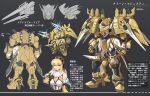 1girl bangs black_hairband blue_eyes breasts character_sheet chibi clenched_hands detached_sleeves eyebrows_visible_through_hair from_behind hair_behind_ear hairband hawe_king highres looking_to_the_side mecha medium_breasts multiple_views original science_fiction shoulder_cannon upper_body
