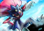 breath claws clouds commentary_request day fangs from_below gen_4_pokemon glint kaosu_(kaosu0905) looking_down no_humans open_mouth outdoors pokemon pokemon_(creature) red_eyes signature sky solo squatting tongue weavile