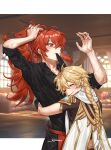 2boys absurdres aether_(genshin_impact) ahoge arms_around_waist bangs black_shirt blonde_hair blurry blurry_background blush braid braided_ponytail closed_eyes closed_mouth collared_shirt couch crop_top diluc_ragnvindr earrings english_commentary eyebrows_visible_through_hair feather_earrings feathers genshin_impact gloves glowing hair_between_eyes highres holding holding_hair hug indoors jewelry long_hair long_sleeves male_focus multiple_boys ponytail red_eyes redhead scarf shirt signature single_earring sleeves_rolled_up smile sweat symbol_commentary tfny veins window