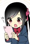 +_+ 1girl :o bangs black_hair blazer blue_jacket blush bow bowtie cellphone collared_shirt commentary_request disconnected_mouth dot_nose emphasis_lines flower hair_flower hair_ornament highres hitori_bocchi hitoribocchi_no_marumaru_seikatsu holding holding_phone jacket katsuwo_(cr66g) long_hair long_sleeves looking_at_phone looking_down open_mouth phone pink_flower red_bow red_eyes red_neckwear school_uniform shirt sidelocks simple_background smartphone solo upper_body white_background white_shirt