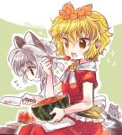 2girls adapted_costume animal_ear_fluff animal_ears biyon blonde_hair eating flying_sweatdrops food fruit green_background grey_hair hair_ornament hand_up holding holding_knife holding_spoon knife mouse mouse_ears multiple_girls nazrin open_mouth red_eyes short_hair short_ponytail short_sleeves sitting sparkle spoon tiger_stripes toramaru_shou touhou twitter_username watermelon yellow_eyes