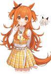 2girls animal_ears belt brown_ribbon casual chiri_(ch!) curren_chan_(umamusume) ear_ribbon horse_ears horse_girl horse_tail jewelry long_hair long_sleeves looking_at_viewer mayano_top_gun_(umamusume) miniskirt multiple_girls nail_polish necklace orange_eyes orange_hair orange_nails plaid plaid_skirt pleated_skirt ribbon skirt sleeves_past_wrists smile tail turtleneck two_side_up umamusume white_background white_belt yellow_skirt