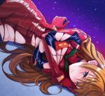 1girl absurdres blush bodysuit breasts highres interface_headset long_hair lying neon_genesis_evangelion on_side orange_hair pilot_suit plugsuit red_bodysuit shinno small_breasts solo souryuu_asuka_langley torn_bodysuit torn_clothes two_side_up