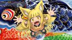 1girl :d animal_ears bangs blonde_hair blue_footwear blunt_bangs blush boots colorful curly_hair doitsuken eyebrows_visible_through_hair fangs fox_child_(doitsuken) fox_ears fox_tail from_above hands_up highres koinobori looking_at_viewer multiple_tails open_mouth orange_overalls original outstretched_arms overalls reflection ripples smile solo spread_arms standing tail thick_eyebrows two_tails wading wristband yellow_eyes