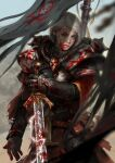 1girl absurdres adepta_sororitas after_battle banner belt_pouch blood blood_splatter blue_eyes electricity highres holding holding_sword holding_weapon imperium_of_man looking_at_viewer nose parted_lips pelvic_curtain pink_lips pouch power_armor realistic reverse_grip silver_hair solo sword warhammer_40k weapon yangzheyy