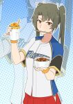 1girl baseball_jersey blue_background brown_eyes chopsticks chopsticks_in_mouth food gradient gradient_background green_hair highres kantai_collection mouth_hold pinky_out pleated_skirt polka_dot polka_dot_background side_slit skirt solo takaman_(gaffe) twintails upper_body wristband zoom_layer zuikaku_(kancolle)