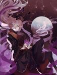 1girl bangs black_dress blonde_hair chinese_clothes crescent crescent_hat_ornament dress flower flower_(symbol) full_moon hair_between_eyes hat hat_ornament highres junko_(touhou) long_hair long_sleeves moon naufaldreamer purple_background red_flower red_footwear shoes touhou yellow_eyes