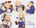 1girl agrias_oaks armor armored_dress blonde_hair blood blood_from_mouth braid braided_ponytail brown_gloves bruise drooling final_fantasy final_fantasy_brave_exvius final_fantasy_tactics fuwafuwatoufu gameplay_mechanics gloves highres injury open_mouth pillow pillow_hug sidelocks single_braid sleeping smile solo sword thumbs_up translation_request weapon