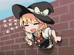 1girl bangs black_headwear black_skirt black_vest blonde_hair blush bow braid brick_wall commentary_request cookie_(touhou) eyebrows_visible_through_hair flying_sweatdrops fox_eyes hair_bow hat hat_bow johnsmith kirisame_marisa long_hair looking_at_viewer open_mouth puffy_short_sleeves puffy_sleeves red_bow short_sleeves side_braid single_braid skirt solo star_(symbol) stuck suzu_(cookie) sweatdrop through_wall touhou trembling upper_body upper_teeth v-shaped_eyebrows vest wall white_bow witch_hat