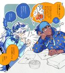 2boys alternate_costume arrow_(symbol) bag blue_eyes blue_headband blue_hoodie bowl chair clenched_teeth closed_eyes commentary_request dark_skin dark_skinned_male gen_4_pokemon hands_up headband hitorigaoka hood hood_down hoodie jewelry long_hair male_focus multicolored_hair multiple_boys paper_bag piers_(pokemon) pokemon pokemon_(game) pokemon_swsh raihan_(pokemon) ring rotom rotom_phone shirt sitting speech_bubble table teeth translation_request two-tone_hair white_hair
