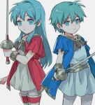 1boy 1girl aqua_eyes aqua_hair bangs boots bracelet eirika_(fire_emblem) ephraim_(fire_emblem) fire_emblem fire_emblem:_the_sacred_stones fire_emblem_heroes hair_between_eyes highres holding holding_sword holding_weapon jewelry kometubu0712 looking_at_viewer official_alternate_costume rapier siblings sidelocks sword thigh-highs thigh_boots twins weapon white_background younger