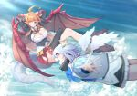 2girls above_clouds ahoge amane_kanata arms_behind_head black_legwear blonde_hair blue_bow blue_sky bow bowtie breasts brooch cleavage_cutout clothing_cutout commentary_request crossed_legs day dragon_girl dragon_tail dragon_wings eyebrows_visible_through_hair flying halo highres hololive horn_bow horns huge_ahoge jewelry kiryu_coco large_breasts long_hair mikan_(chipstar182) multicolored_hair multiple_girls one_eye_closed orange_hair outstretched_arms pointy_ears red_eyes short_hair silver_hair single_thighhigh sky streaked_hair tail thigh-highs virtual_youtuber white_wings wings