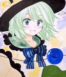 1girl :d bangs black_headwear blouse blue_bow blue_neckwear blush bow bowtie collarbone commentary_request eyeball eyebrows_visible_through_hair frills green_eyes green_hair green_skirt happy hat hat_bow komeiji_koishi looking_at_viewer marker_(medium) matsuppoi open_mouth petticoat short_hair simple_background skirt smile solo third_eye touhou traditional_media upper_body yellow_blouse yellow_bow