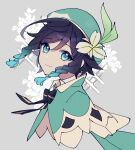 1boy amefurin androgynous bangs beret black_hair blue_eyes blue_hair bow braid cape closed_mouth collared_cape eyebrows_visible_through_hair floral_background flower from_side genshin_impact gradient_hair green_headwear grey_background hair_flower hair_ornament hat highres leaf looking_at_viewer male_focus multicolored_hair short_hair_with_long_locks simple_background smile solo sparkle_background symbol_commentary twin_braids venti_(genshin_impact) white_flower