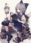 1girl absurdres ankle_boots blue_dress blue_eyes blue_footwear blue_hair book book_stack boots bow chair cirno combat_boots cross-laced_footwear dress grey_footwear hair_bow highres hito_komoru holding holding_book huge_filesize ice ice_wings lace-up_boots lantern puffy_short_sleeves puffy_sleeves reading shoe_soles short_hair short_sleeves solo touhou wings
