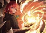1girl bangs black_coat black_gloves blurry butterfly_hair_ornament closed_mouth coat depth_of_field eve_ignite eyebrows_visible_through_hair fire flying_paper gloves hair_ornament highres long_hair long_sleeves looking_at_viewer looking_to_the_side magic mishima_kurone novel_illustration official_art paper redhead rokudenashi_majutsu_koushi_to_akashic_record sidelocks solo textless upper_body violet_eyes