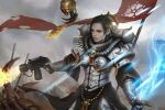 1girl absurdres alternate_hair_color armor banner battle black_hair blue_eyes boobplate dual_wielding electricity english_commentary facial_tattoo finger_on_trigger firing flamer flamethrower fleur_de_lis forehead highres holding imperium_of_man lips nose pauldrons pelvic_curtain power_armor power_sword purity_seal realistic servitor shoulder_armor sister_of_battle skull solo_focus tattoo tyranid warhammer_40k weapon yangzheyy