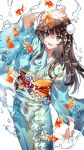 1girl :d animal arm_up bangs blue_eyes blue_kimono blush brown_hair commentary_request cowboy_shot eyebrows_visible_through_hair fish flower hair_flower hair_ornament highres japanese_clothes kimono long_hair long_sleeves looking_at_viewer nardack obi open_mouth orange_sash original sash smile solo standing water white_background