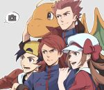 1girl 3boys ahoge annoyed arm_around_shoulder arm_on_shoulder backwards_hat black_eyes black_hair bow brown_hair cabbie_hat camera cape closed_mouth dragonite ethan_(pokemon) gen_1_pokemon grey_background happy hat hat_bow high_collar lance_(pokemon) lyra_(pokemon) monji_samonji open_mouth pokemon pokemon_(game) pokemon_hgss red_eyes silver_(pokemon) simple_background smile speech_bubble spiky_hair suspenders taking_picture