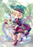 2girls :o amo_(shibu3) ankle_socks black_shirt blonde_hair blue_eyes blurry blurry_background bow bowtie commentary_request cup eyebrows_visible_through_hair fairy_wings flower hair_ornament hair_ribbon head_tilt heart_ribbon highres holding holding_spoon leaf leaning_forward light_rays lily_of_the_valley looking_at_viewer medicine_melancholy minigirl multiple_girls petticoat puffy_short_sleeves puffy_sleeves purple_legwear red_footwear red_neckwear red_ribbon red_skirt ribbon sash saucer shirt short_hair short_sleeves skirt sparkle spoon standing star_(symbol) star_hair_ornament striped striped_ribbon su-san sugar_cube sunbeam sunlight teabag teacup teaspoon touhou twitter_username wand wings wrist_cuffs