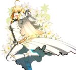 1girl :d absurdres ahoge belt blonde_hair bodysuit chain cowboy_shot fate/extra fate/extra_ccc fate_(series) flower gloves green_eyes highres jewelry lily_(flower) looking_at_viewer nero_claudius_(bride)_(fate) nero_claudius_(fate)_(all) official_art open_mouth pointing pointing_at_viewer ring shoes short_hair smile solo standing standing_on_one_leg takeuchi_takashi veil white_background white_bodysuit white_footwear white_gloves white_theme zipper zipper_pull_tab