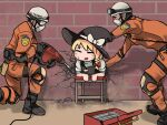 114514 1girl 2boys bangs black_footwear black_gloves black_hair black_headwear black_vest blush boots bow commentary_request cookie_(touhou) cracked_wall drill fox_eyes full_body gloves goggles hardhat hat hat_bow helmet helping hide_(acceed) johnsmith kirisame_marisa long_hair looking_at_another manatsu_no_yo_no_inmu mask mouth_mask multiple_boys open_mouth orange_jumpsuit shirt short_hair standing star_(symbol) stuck suzu_(cookie) sweatdrop toolbox touhou upper_body vest white_bow white_shirt witch_hat yajuu_senpai