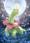 claws closed_mouth commentary_request gen_2_pokemon highres meganium moon night no_humans outdoors petals pokemon pokemon_(creature) raika_(raika_3890) smile solo standing yellow_eyes