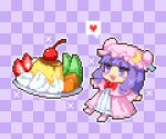 1girl bangs blunt_bangs bow bowtie checkered checkered_background cherry crescent crescent_pin dress food fruit full_body happy_birthday hat heart kumamoto_(bbtonhk2) long_hair lowres mob_cap open_mouth orange_(food) patchouli_knowledge pink_dress pink_footwear pink_headwear pixel_art plate purple_background purple_hair red_bow red_neckwear sidelocks solo speech_bubble spoken_heart star_(symbol) strawberry symbol_commentary touhou violet_eyes