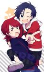 2boys ahoge angry blue_eyes blue_hair blush carrying english_text ethan_(pokemon) gensi happy high_collar jacket looking_at_viewer male_focus multiple_boys open_mouth pokemon pokemon_(game) pokemon_hgss red_eyes redhead short_hair sidelocks silver_(pokemon) simple_background star_(symbol) striped sweatdrop v