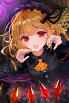 1girl :d alternate_costume artist_name bangs black_dress blonde_hair blush breasts center_frills checkered checkered_floor cravat cross-laced_clothes crystal dark_background dress dutch_angle eyebrows_visible_through_hair fangs flandre_scarlet frills gao hands_up hat long_sleeves medium_hair mob_cap nail_polish one_side_up open_mouth pointy_ears purple_headwear purple_nails red_eyes sakizaki_saki-p small_breasts smile solo touhou upper_body wings yellow_neckwear