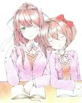 2girls blazer blush book bow brown_hair closed_eyes colored_pencil_(medium) cute desk doki_doki_literature_club green_eyes highres jacket moe monika_(doki_doki_literature_club) multiple_girls one_eye_closed open_book pen ponytail red_bow red_ribbon ribbon sayori_(doki_doki_literature_club) school_uniform short_hair sleeping sleeping_on_person team_salvato traditional_media user_dudm5433 white_ribbon yuri