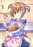 1girl ;) apron black_skirt blue_sweater blurry blurry_background blush bowl brown_eyes brown_hair chocolate closed_mouth depth_of_field frilled_apron frilled_skirt frills hair_ornament hairclip heart heart_hair_ornament highres holding holding_bowl kouta. mixing_bowl one_eye_closed original pink_apron pleated_skirt short_twintails skirt smile solo sweater tile_wall tiles twintails whisk x_hair_ornament