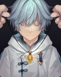 1boy 1other bangs black_background blue_eyes blue_hair blurry blurry_foreground chinese_clothes chongyun_(genshin_impact) commentary_request gem genshin_impact hair_between_eyes highres holding holding_jewelry holding_necklace hood hood_down hoodie jewelry light_smile looking_down male_focus necklace pov pov_hands raku_ge shine short_hair simple_background smile solo_focus
