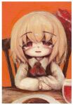 1girl bangs blonde_hair blush border chair commentary_request cravat cup drinking_glass eyebrows_visible_through_hair food hair_ribbon kouba looking_at_viewer open_mouth orange_background plate red_eyes red_neckwear red_ribbon ribbon rumia shirt short_hair signature sitting solo table touhou traditional_media upper_body vest white_border white_shirt wine_glass wing_collar