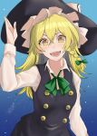 1girl absurdres black_dress blonde_hair blue_background bow braid dress frilled_dress frills green_bow green_neckwear hair_bow hat hat_bow highres kirisame_marisa long_sleeves medium_hair sei_(kaien_kien) side_braid single_braid touhou white_bow witch_hat yellow_eyes