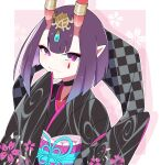 1girl bangs black_kimono bob_cut breasts choker eyeliner fate/grand_order fate_(series) floral_print headpiece highres horn_ornament horn_ring horns japanese_clothes kimono long_sleeves looking_at_viewer lostroom_outfit_(fate) makeup na09tu obi oni oni_horns pointy_ears purple_hair sash short_hair shuten_douji_(fate) skin-covered_horns sleeves_past_fingers sleeves_past_wrists small_breasts smile violet_eyes wide_sleeves