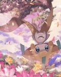 blue_eyes budouwain closed_mouth clouds commentary_request gen_3_pokemon highres jirachi looking_at_viewer mythical_pokemon no_humans petals pokemon pokemon_(creature) sky sparkle water_drop