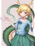 1girl bangs blonde_hair blue_shirt cigarette closed_mouth collarbone cowboy_shot dragon_horns dragon_tail eyebrows_visible_through_hair flat_chest green_skirt grey_background hair_behind_ear hands_up highres holding holding_cigarette horns kicchou_yachie leste_(humansequencer) light_blush orange_eyes pleated_skirt shirt short_hair simple_background skirt smile smoke solo swept_bangs tail touhou turtle_shell